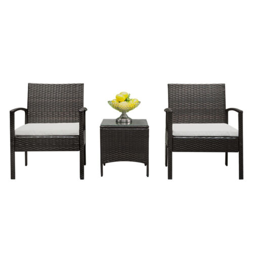 Rattan Wicker Furniture Set 3PC Cushioned Outdoor Garden Sea