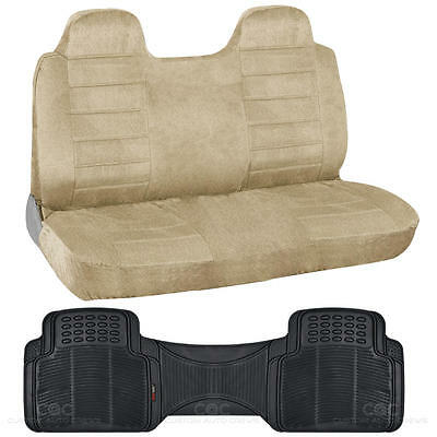 Suited Truck Front Bench Seat Cover & Odorless Floor Mat Liner - Beige Regal