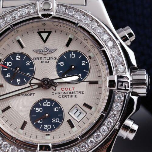 Breitling Chrono Colt Stainless Steel 41mm Watch Custom Set Diamond Bezel A73380