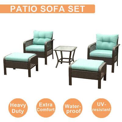 5 Pcs Outdoor Patio Sofa Furniture Set Rattan Wicker Cushion Outdoor Garden...
