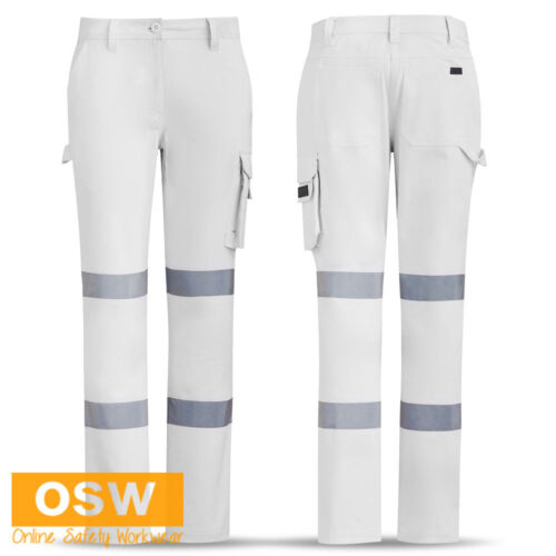 WOMENS WHITE RTA TRAFFIC CONTROLLER COTTON DRILL BIOMOTION TAPED WORK PANTS