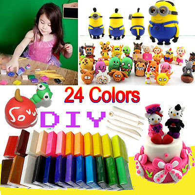 24 Mixed Colour Soft Oven Bake Polymer Clay Blocks Modelling Moulding Art Design