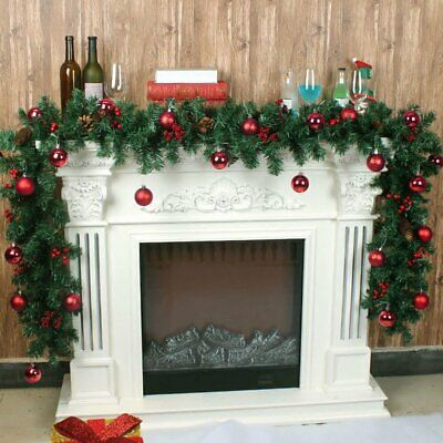 2.7M Artificial Christmas Wreath Green Garland Door Fireplace Xmas Tree Decor US ()