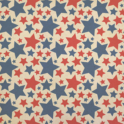 Wrapping Paper Blue (Patriotic Red and Blue Stars are Shining Kraft Present Gift Wrap Wrapping)