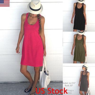 US Womens Summer Cotton Vest Sleeveless Sundress Beach Loose Dress Tank Top Size