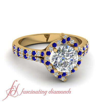 1 Carat Round Cut Halo Style Double Row Diamond Rings With Sapphire Gemstone GIA