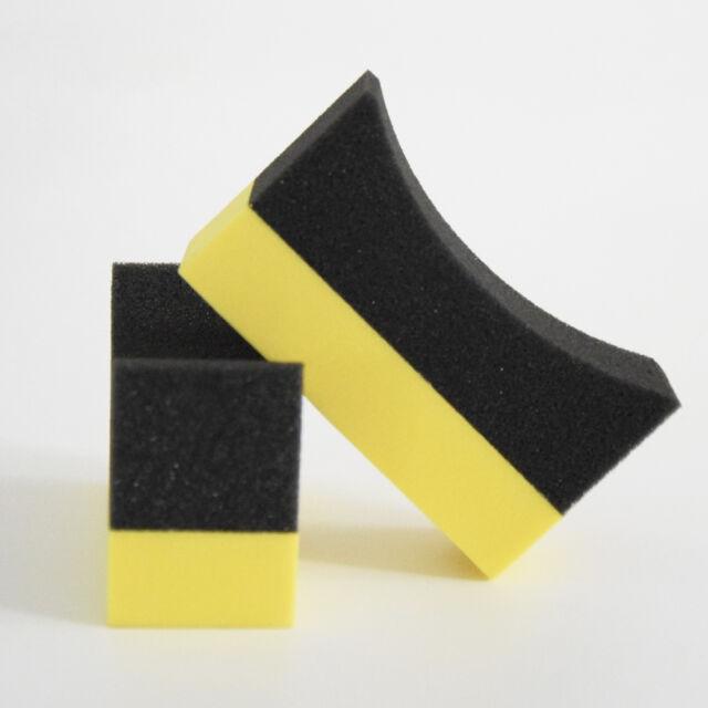 New 2Pcs Car U-Shape Tire Waxing Polishing Compound Sponge Pads Tyre Clean Brush