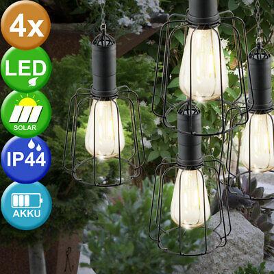 4x Solar LED Hanging Ceiling Lamps Retro Garden Outdoor Lattice Pendant Lights