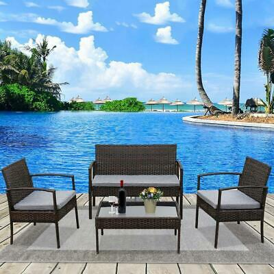 Garden Furniture - Patio Wicker Furniture Outdoor 4PCs Rattan Sofa Garden Conversation Set