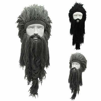 Knitted Long Beard Viking Hat Ski Mask Caps Barbarian Beanie Wig Cosplay 574 - Viking Hat Beard