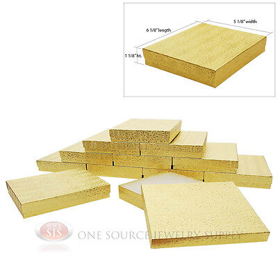 Large 12 Gold Foil Cotton Filled Jewelry Gift Boxes 6 18 X 5 18 X 1 18h