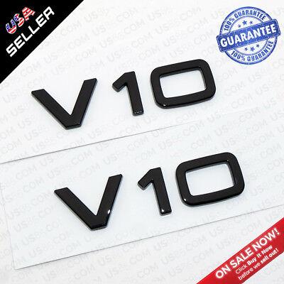 Audi OEM Gloss Black V10 Side Fender Marker Logo Emblem Badge Sticker Decoration