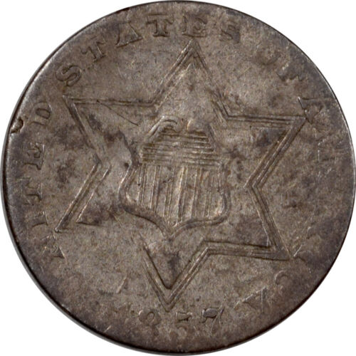 1857 THREE CENT SILVER - CIRCULATED