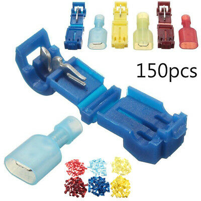 150pcs T-taps Male Insulated Terminal Connectors Combo Kit 14-16 10-12 18-22
