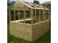 New 8x6 Strong Wooden Greenhouse Frame 8ft x 6ft