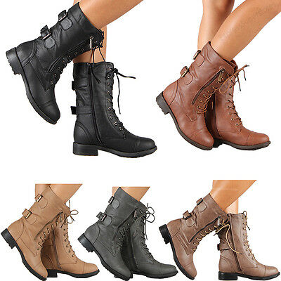 - Womens Combat Military Boots Lace Up Buckle New Women Fashion Boot Shoes Size