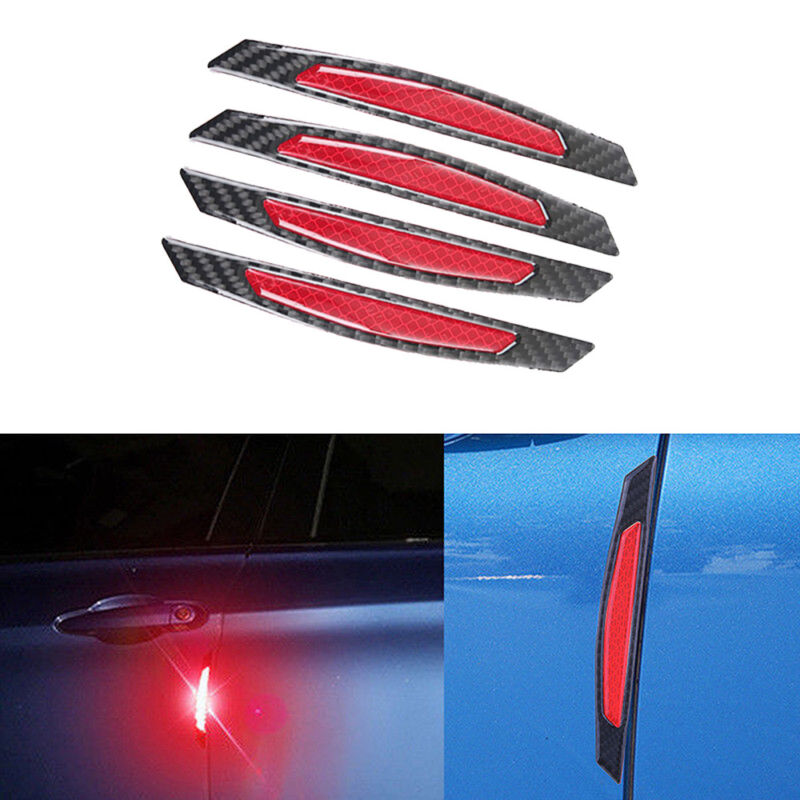 4x Red Safety Reflective Tape Warning Car Door Stickers Accessory Carbon Fiber