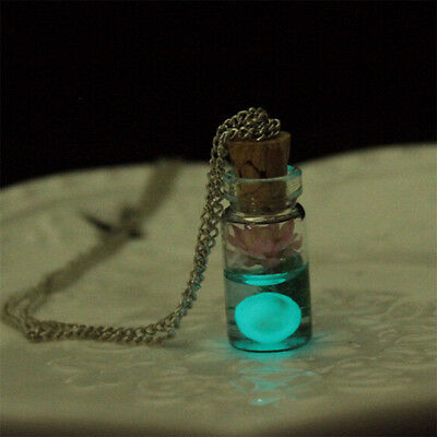 Tiny Glow In The Dark Lotus Flower Glass Wishing Wish Bottle Necklace Pendant