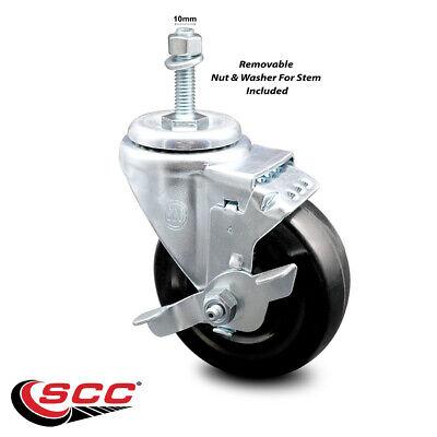 Hard Rubber Swivel Ts Caster W4 Wheel 10mm Stem Wbrake