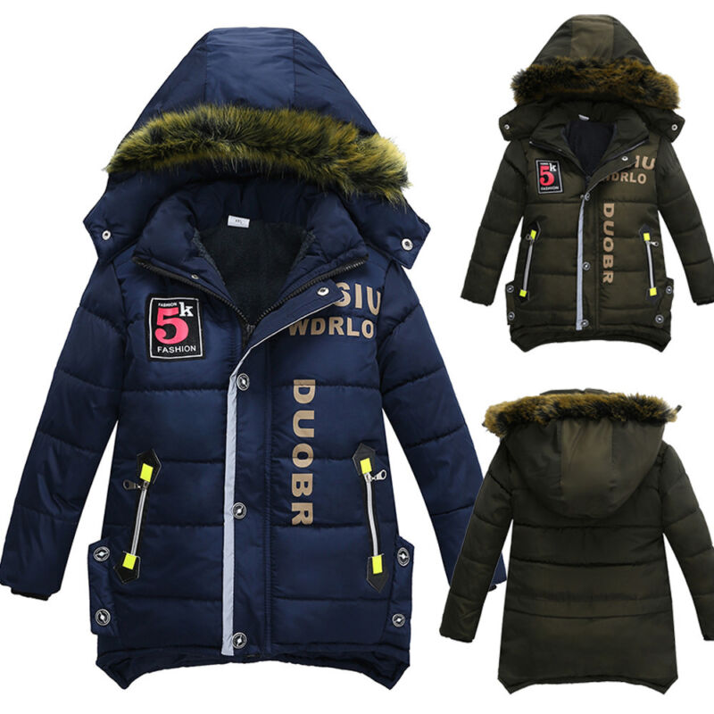 Toddler Boy Kid Baby Fashion Daily Winter Warm Hooded Jacket Coat Outwear A2