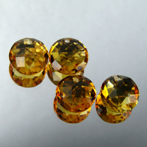 6.35CTS 8MM ROUND DOUBLE CHECKER CUT WITH DRILLED NATURAL GOLDEN ORANGE CITRINE