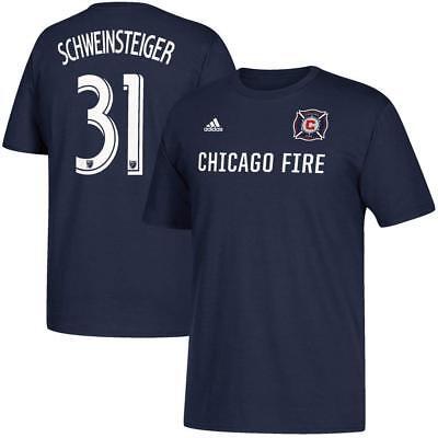 Adidas Chicago Fire  31 Schweinsteiger Soccer Team Blue T Shirt S  M  L