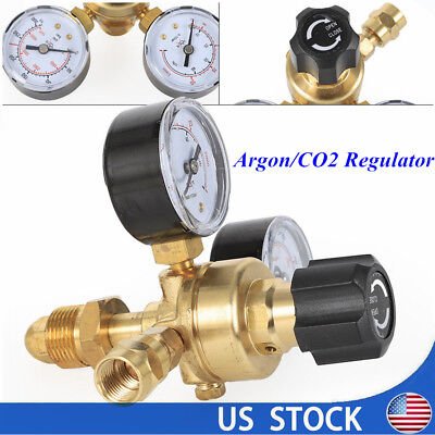Argon Co2 Regulators 2 Dual-gauges Gas Bottle Mig Tig Welding Flow Meter Cga580