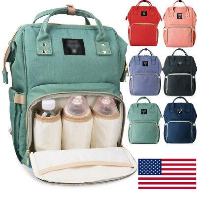 Waterproof Large Mummy Nappy Diaper Bag Baby Travel Changing Nursing Backpack US