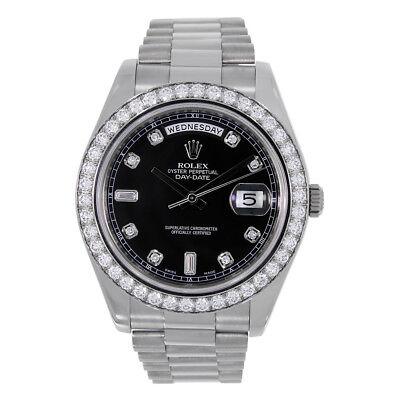 Rolex Day-Date II 41mm 18K White Gold Black Diamond Dial 218349