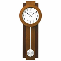 Bulova Clocks Avent 23 Inch 2 Tone Walnut and Mahogany Pendulum Clock (Open Box)