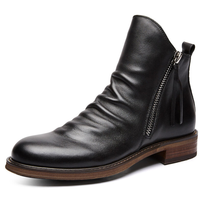 Mens Leather Casual Chelsea Ankle Boots Zipper Slip On Classic Business Shoes