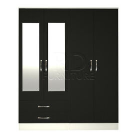 Beatrice 4 door 2 drawer mirrored wardrobe white and black
