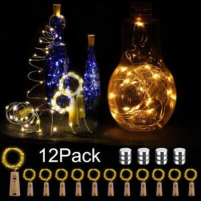 12 Stück 20 LEDs 2M Flaschen Licht Warmweiß Lichterkette für Weinflasche Dekor ()
