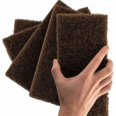 Heavy Duty XL Brown Scouring Pad 5 Pack. 10 X 4.5in Large Multipurpose Nylon And