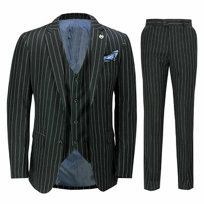 Mens 3 Piece Pin Stripe Suit Black White Retro 1920s Peaky Blinders Gatsby Style