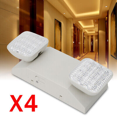 4pcs Led Emergency Exit Light Lamp Twin Square Head Lighting Battery Back Up