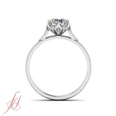 1/2 Carat Round Cut FLAWLESS Diamond Milgrain Engagement Ring GIA Certified 4