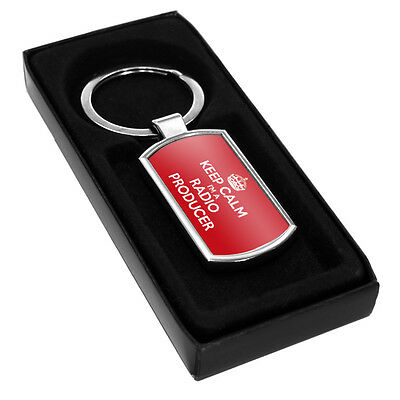 RED Keep Calm I'm a Radio Producer Metal Keyring 0315