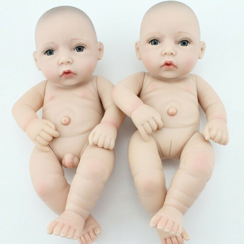 Lifelike Twins Baby Dolls Full Vinyl Silicone Real Life Doll Babies Girl Boy 10""