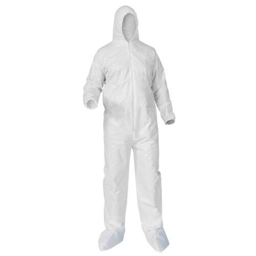 Coverall Hazmat Suits XL w/ Elastic Hoodies, Booties & Sleeves. *1 SUIT*