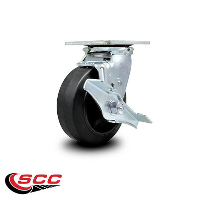 Scc 5 Rubber On Cast Iron Wheel Swivel Caster Wbrake - 400 Lbscaster