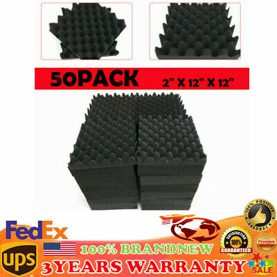 """50 Pack Acoustic Panels Studio Soundproofing Foam Wall Wedge Tiles 2"""" Thick USA"""