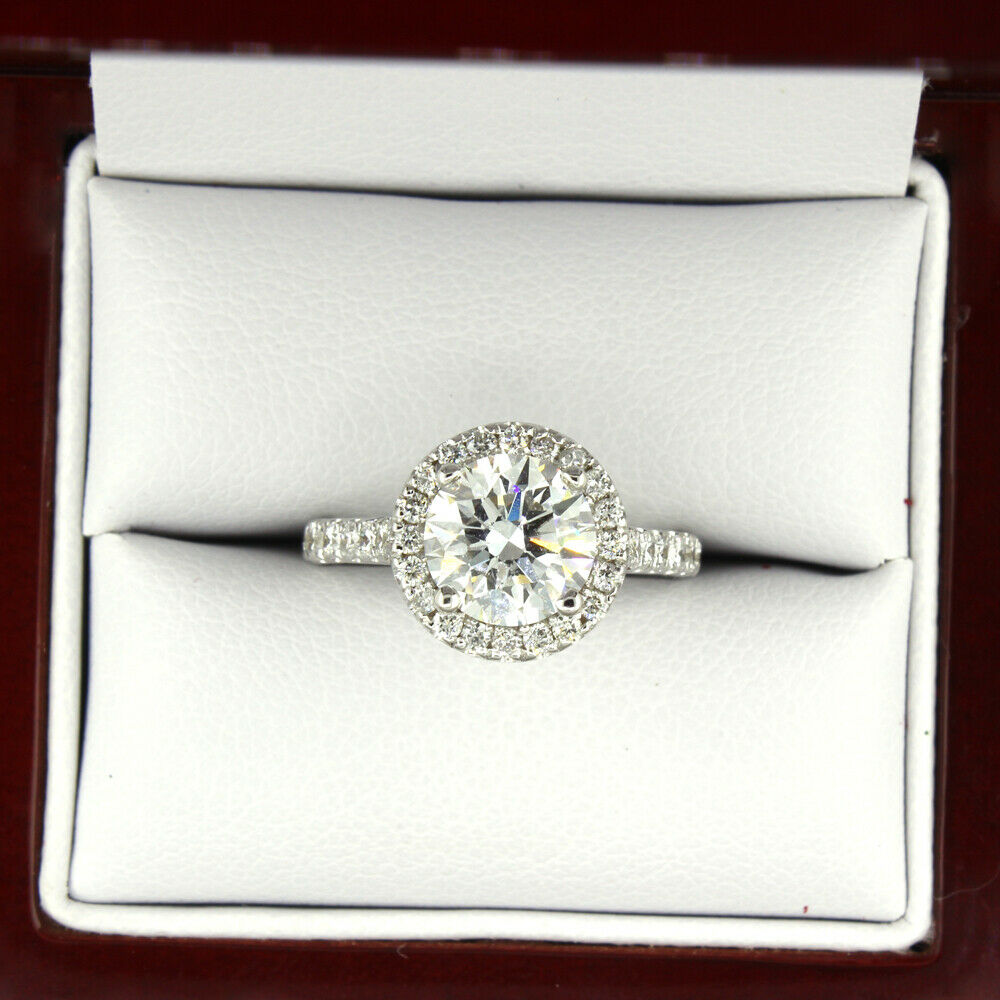 GIA Certified Halo Round Cut Diamond Engagement Ring 14k White Gold  1.87 CTW