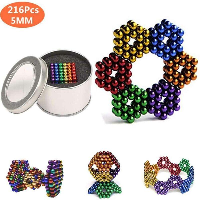 216PCS Magnetic Bead Coloured Ball Metal Gift Tin 5mm Set +6 Colors