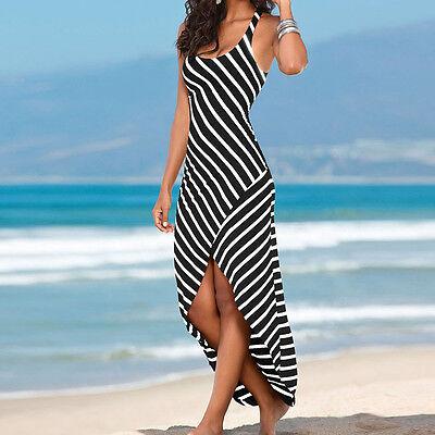 Women Sleeveless Black And White Stripes Dress Irregular Pendulum Long Skirt