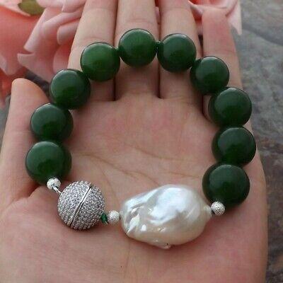 8'' 16MM Green Jade White Keshi Pearl Bracelet - Green Jade White Pearl
