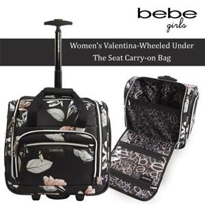 NEW BEBE Womens Valentina-Wheeled Under The Seat Carry-on Bag, Black Floral Condtion: New, Black Floral