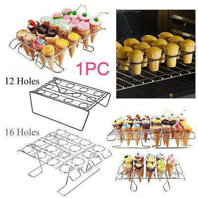 12 16 Holes Cupcake Cone Baking Rack Ice Cream Cone Holder Tray Display Stand