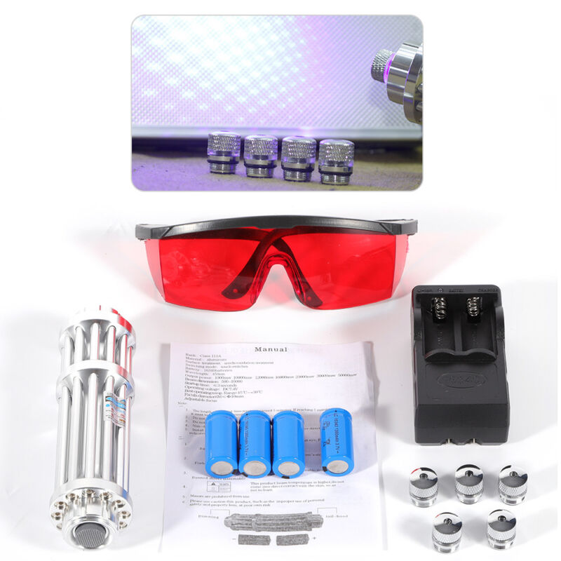 2019 Upgraded Blue Laser Light High Power Burning Beam Lights Military Set 450nm