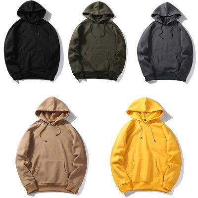 Men Winter Casual Hoodie Warm Pullover Fleece Sweatshirt Hooded Coat Sweater Top Fleece Winter Pullover Sweatshirt
